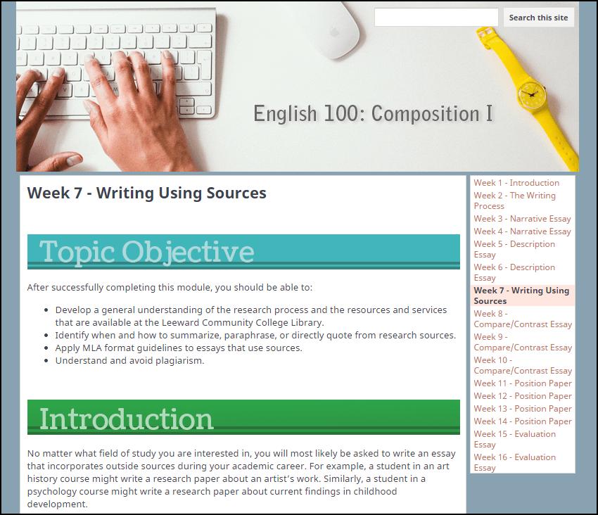 Screenshot of week 7's module