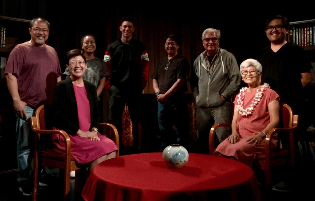 L-R: Camden Barruga, Ann Inoshita, Jessica Dela Cruz, Theo O'Neal, Les Matsuura, Mike May, Juliet S. Kono, Jordan Teruya