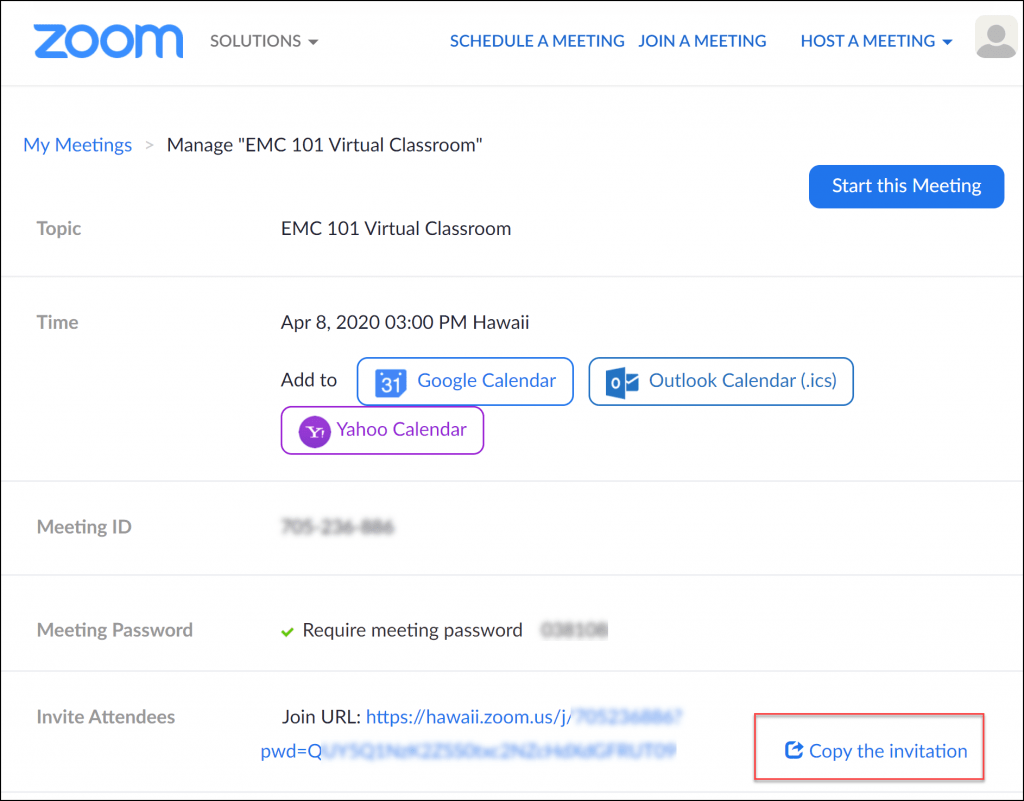Zoom copy invitation