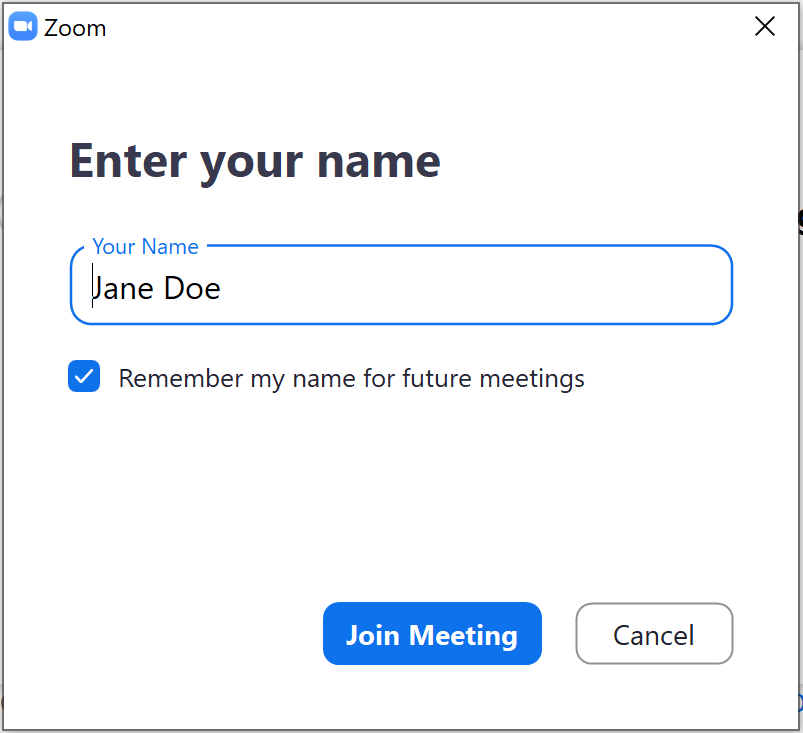 Zoom enter name