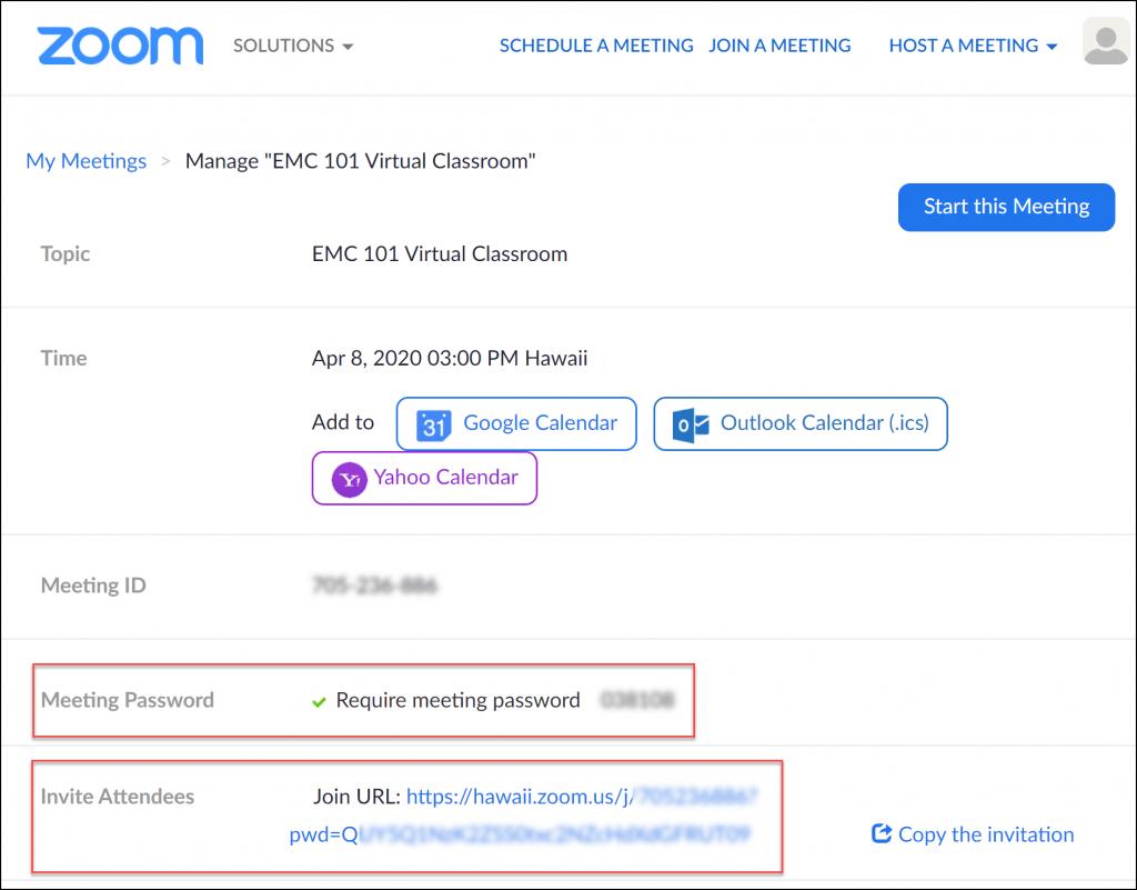 Zoom password join link