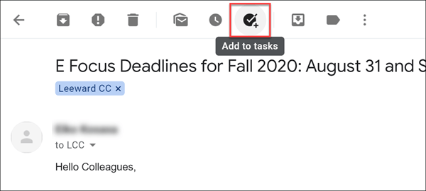 Gmail add to tasks button