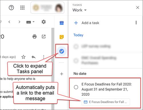 Gmail Tasks list panel