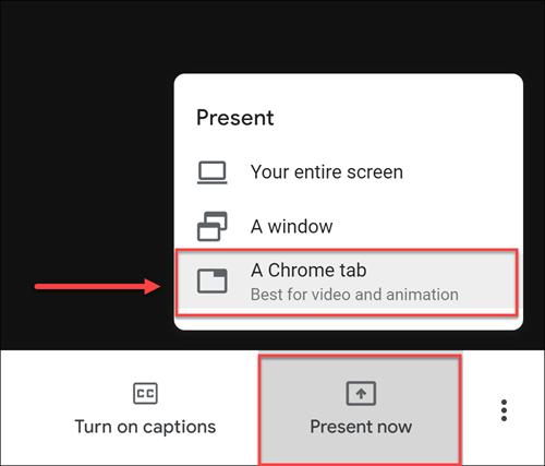 Present now button in Meet