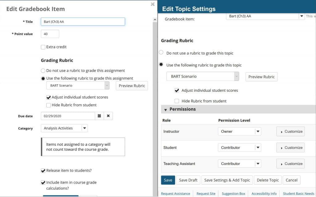 Edit Gradebook item to associate rubric. Edit topic settings of Forum to associate to Gradebook item and rubric.